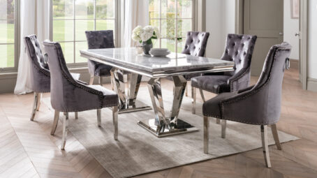 creole marble dining table in home