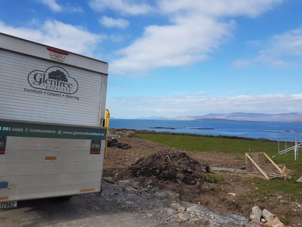 Glentree delivery van overlooking landscape and sea