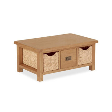 Dawin Large Coffee Table with Baskets