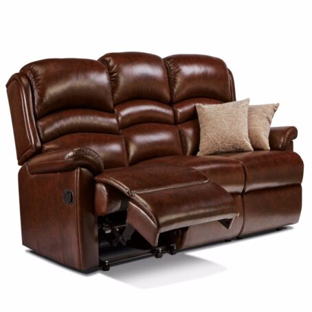 Olivia Fixed Three Seater Brown Leather