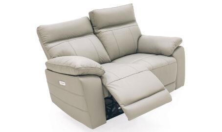 Carmine 2 Seater grey Reclining Sofa open