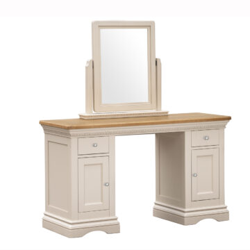 Dorset Cream Oak Dressing Table and Vanity Mirror angled