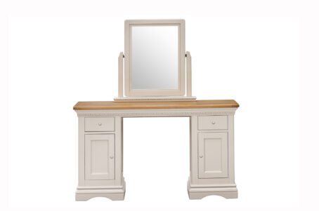 Dorset Cream Oak Dressing Table and Vanity Mirror front view