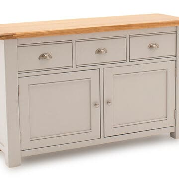 Swansea Large Grey Oak Sideboard angled
