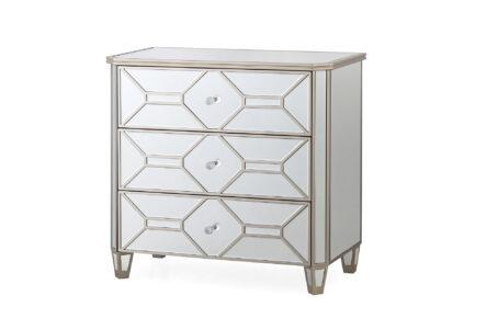 Versaille Mirrored Glass Chest - 3 drawer