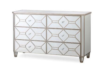 Versaille Mirrored Glass Chest - 6 drawer