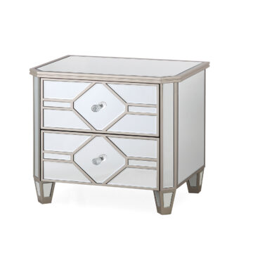 Versaille Glass Mirrored Bedside Table