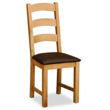Darwin Lite Ladder Back Chair Brown PU leather