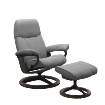 Stressless Reclining Consul Signature Chair Base Chair - Batick Leather, Wild Dove Colour